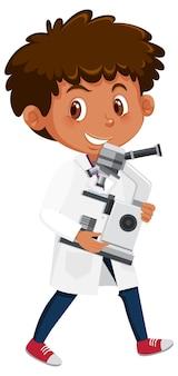 Bambini in personaggio dei cartoni animati di scienziato costume isolato su bianco