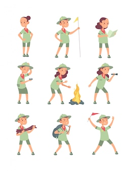Scout per bambini. bambini del fumetto in uniforme scout nel campeggio estivo. personaggi divertenti di ragazzi e ragazze