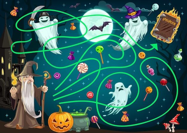I bambini cercano il gioco del percorso con i fantasmi di halloween Vettore Premium
