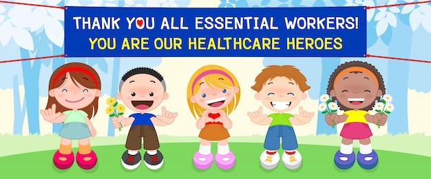 I bambini mostrano gratitudine nei confronti di medici, infermieri e personale medico che lavora negli ospedali e combatte il coronavirus (covid-19)