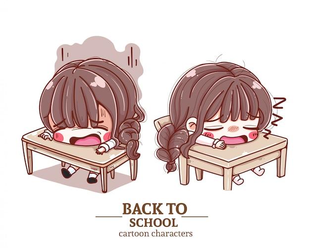 Uniforme studentesca per bambini, seduta in classe, stanca, torna a scuola illustrazione logo.