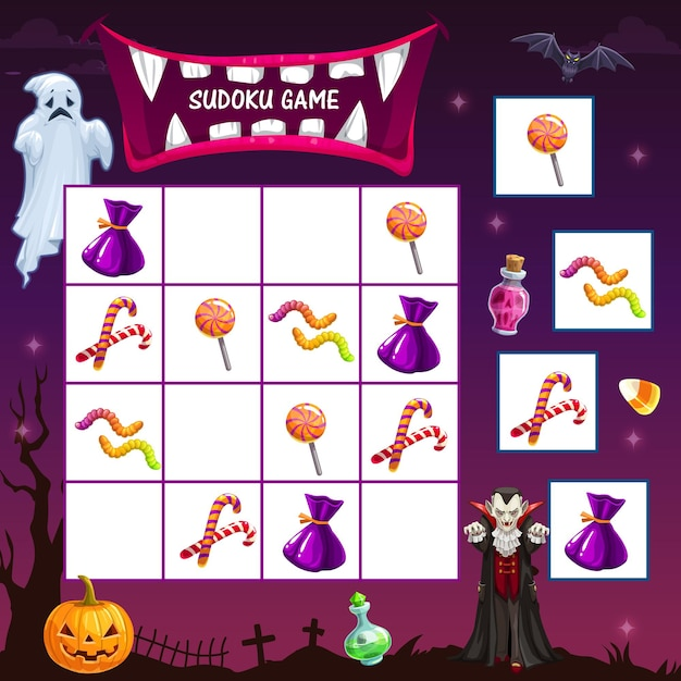 Gioco di sudoku per bambini con dolcetti per le vacanze di halloween