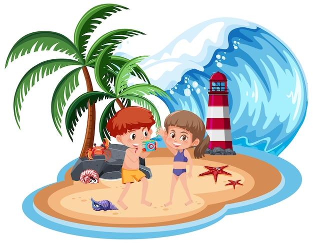 Bambini che prendono foto in spiaggia