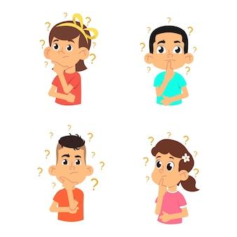 I bambini pensano. ragazzi e ragazze carini che fanno domande.