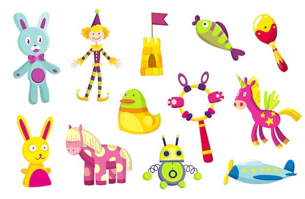 Collezione di giocattoli per bambini. simpatici giocattoli divertenti per bambini piccoli. isolato Vettore Premium
