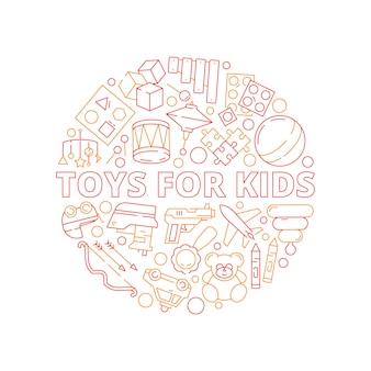 Concetto di giocattoli per bambini. forma circolare con giochi per auto di plastica per bambini