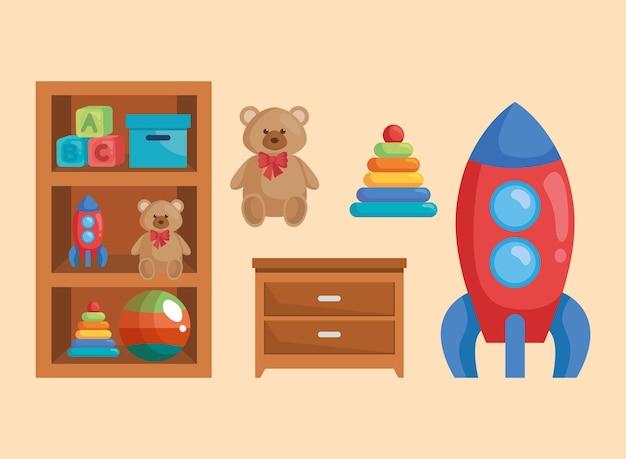 Giocattoli per bambini per la stanza dei giochi