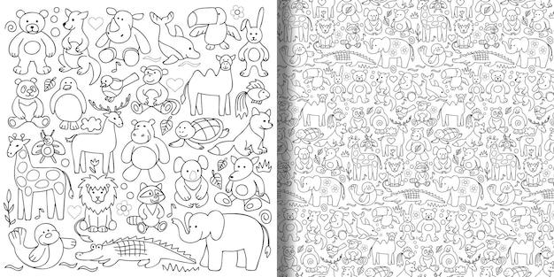 Set di giocattoli per bambini e motivo senza cuciture per colorare sfondi per stampe tessili