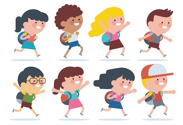 Bambini di vari gruppi etnici che vanno a scuola a piedi. di nuovo a scuola.