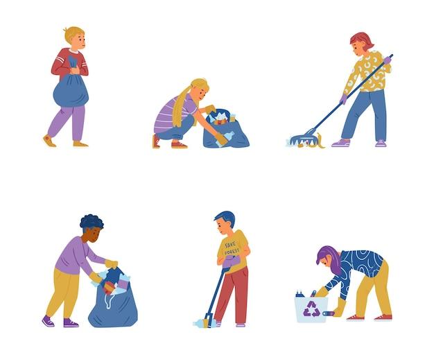 Bambini volontari che puliscono una strada raccolgono rifiuti smistamento rifiuti