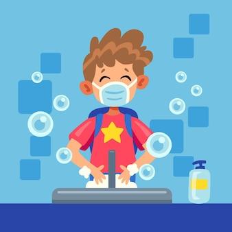 I bambini si lavano le mani nelle scuole