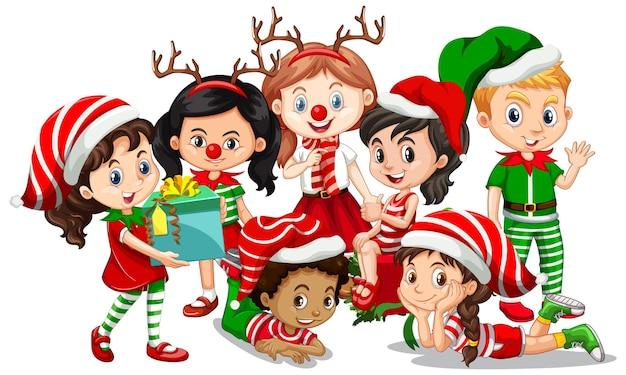 I bambini indossano il personaggio dei cartoni animati di natale costume su bianco