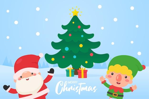 I bambini indossano abiti invernali all'esterno per decorare l'albero di natale con palline rosse in inverno.