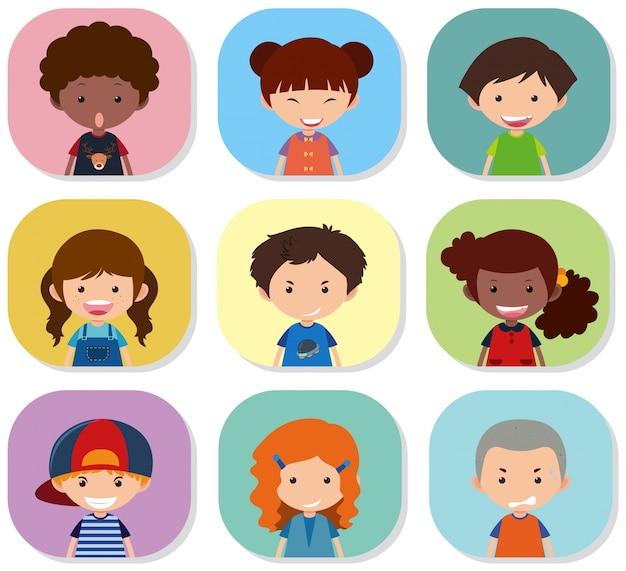 Bambini con diverse emozioni sui loro volti