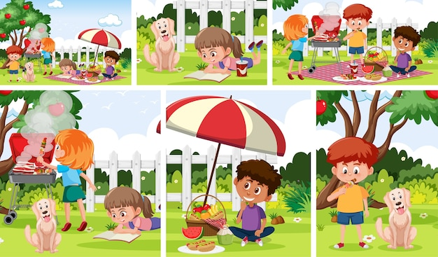 Bambini con set di sfondo all'aperto