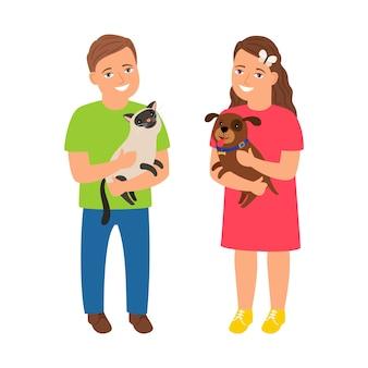 Bambini con animali domestici Vettore Premium
