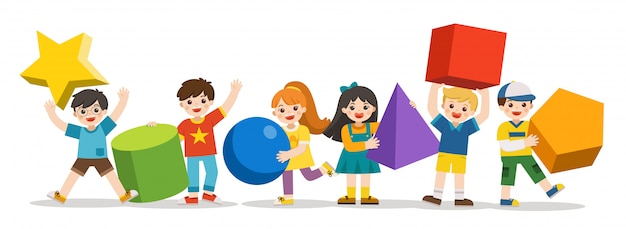 Bambini con forme geometriche semplici. forma geometrica diversa. bambini di geometria educativa. di nuovo a scuola.