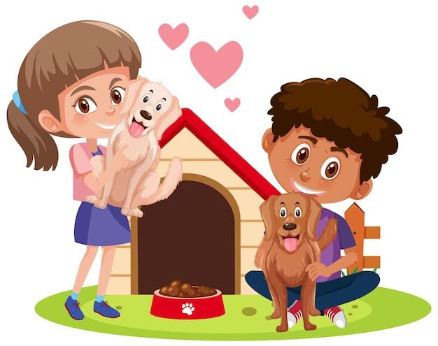 Bambini con i loro animali domestici isolati su priorità bassa bianca