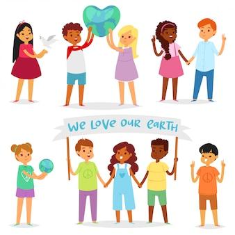Bambini mondo bambini felici in pace sul pianeta terra e illustrazione terrena amicizia mondiale insieme infantile pacifico di ragazzi o ragazze insieme su sfondo bianco Vettore Premium