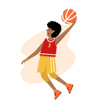 Campionato di basket per bambini. giocatore di basket con palla. personaggio d'azione dei cartoni animati di giovane ragazzo.