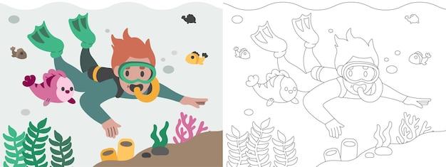 Illustrazione del libro da colorare per bambini che si tuffa sotto il bellissimo mare