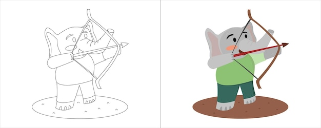 Illustrazione del libro da colorare per bambini. elefante verde pratica tiro con l'arco
