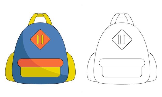 Sacchetto di scuola dell'illustrazione del libro da colorare per bambini