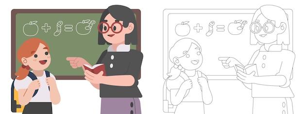 Illustrazione del libro da colorare per bambini l'insegnante e i suoi studenti stanno discutendo la lezione