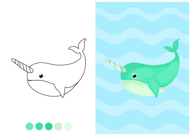 Illustrazione da colorare per bambini con narvalo