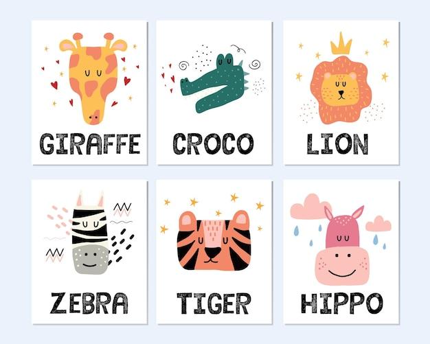 Set di poster di animali della giungla disegnati a mano per bambini