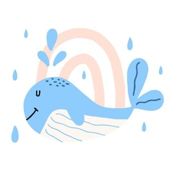 Illustrazione disegnata a mano per bambini di una balena blu balena con arcobaleno e pioggia