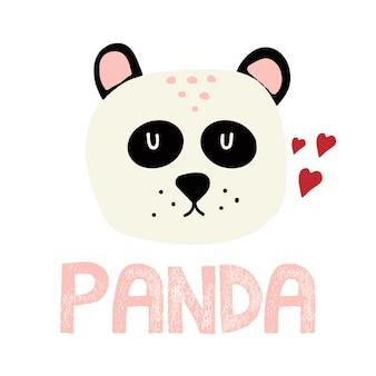 Illustrazione disegnata a mano per bambini di una simpatica testa di panda panda con cuori