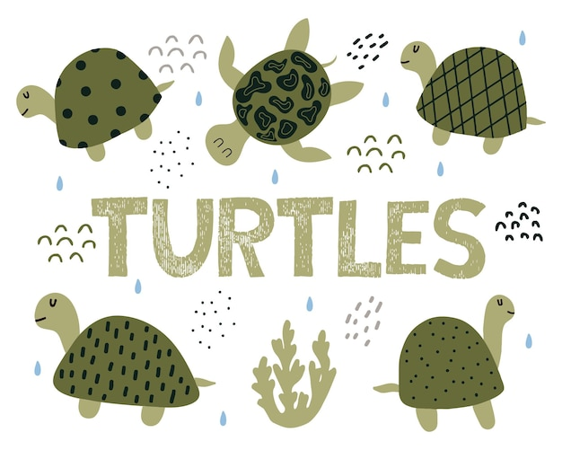 Set disegnato a mano per bambini di tartarughe verdi lettering carino tartarughe