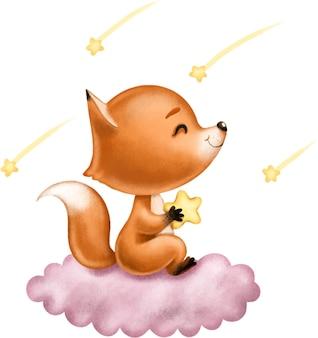Illustrazione per bambini simpatica volpe rossa seduta su una nuvola rosa tra le stelle