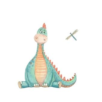 Illustrazione per bambini con un dinosauro e una libellula su uno sfondo bianco