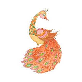 Illustrazione per bambini con un firebird su uno sfondo bianco