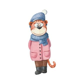 Illustrazione per bambini con un cucciolo di tigre in una sciarpa e un cappello su uno sfondo bianco