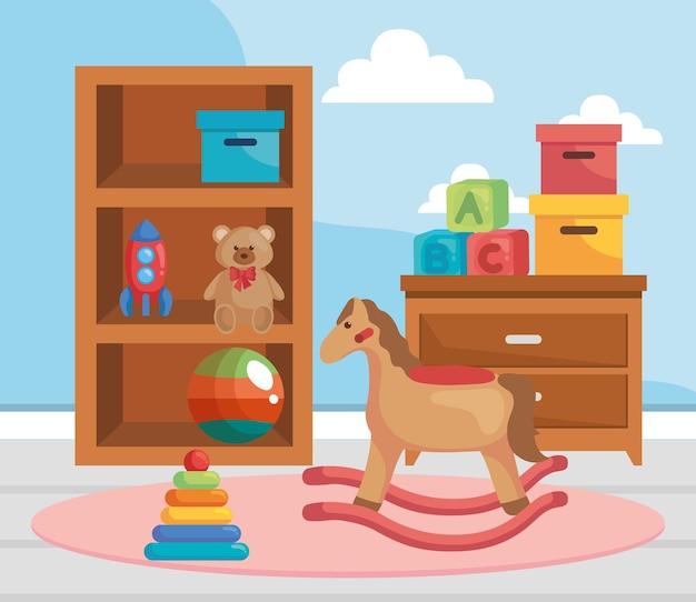 Stanza dei bambini con giocattoli