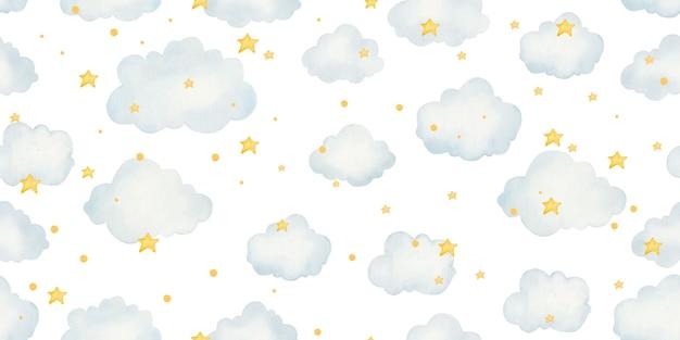 Modello senza cuciture per bambini con nuvole e stelle, simpatica illustrazione per bambini