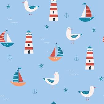 Modello senza cuciture per bambini con gabbiani, fari, barche a vela, stelle marine, onde, ancore