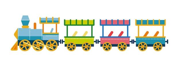 Illustrazione vettoriale del treno per bambini in stile piatto un treno da un parco divertimenti isolato