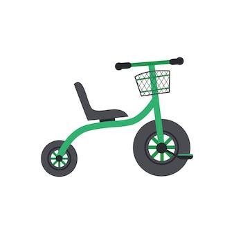 Bicicletta a due ruote per bambini per illustrazione vettoriale piatta per bambini isolata