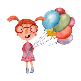 Illustrazione ad acquerello per bambini di una ragazza gioiosa in un vestito che tiene palloncini colorati