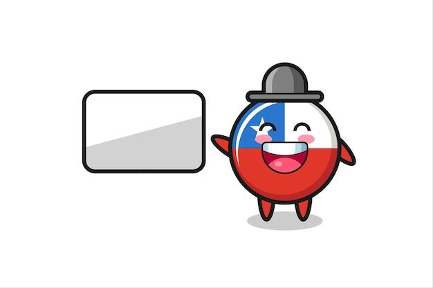 Illustrazione del fumetto del distintivo della bandiera del cile che fa una presentazione, design in stile carino per maglietta, adesivo, elemento logo