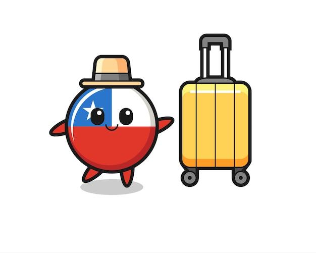 Illustrazione del fumetto del distintivo della bandiera del cile con i bagagli in vacanza, design in stile carino per maglietta, adesivo, elemento logo