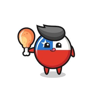 La simpatica mascotte del distintivo della bandiera del cile sta mangiando un pollo fritto, un design in stile carino per maglietta, adesivo, elemento logo