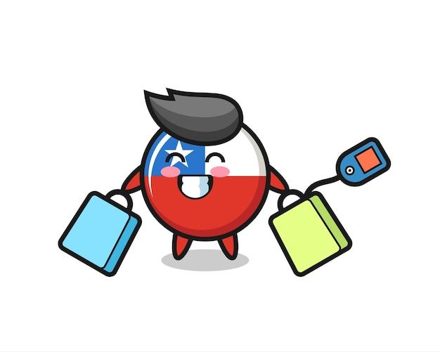 Cartone animato della mascotte del distintivo della bandiera del cile che tiene una borsa della spesa, design in stile carino per maglietta, adesivo, elemento logo