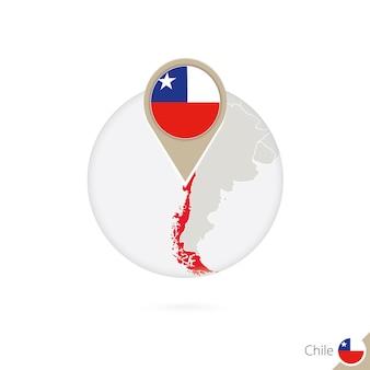 Mappa e bandiera del cile in cerchio. mappa del cile, perno della bandiera del cile. mappa del cile nello stile del globo. illustrazione di vettore.
