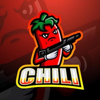 Chili gunner mascotte esport illustrazione