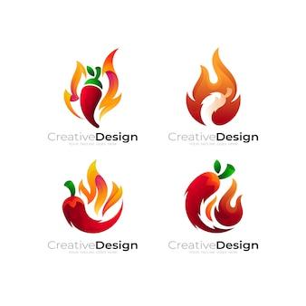 Combinazione di design del logo del peperoncino e del fuoco, icona della collezione